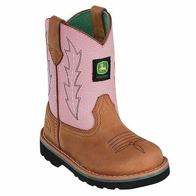 New John Deere JD1185 Baby's Pink Wellington Boots