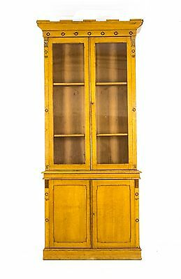 B287 Ant. Scot. Mid. 19th Cent. Tall Glass Fronted Oak Bookcase, Gothic