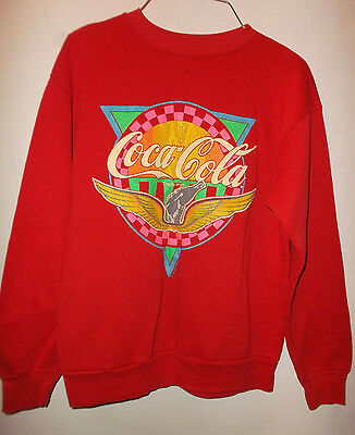 VTG 1980s Coca Cola Crew Neck Red Sweatshirt - MEDIUM - Made in USA