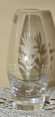 Mid-Century HADELAND KRYSTALL Posy Bud POSEY VASE with WILDFLOWER ETCHING Label