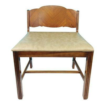 Vintage Art Deco Waterfall Wood Vanity Bench Piano Seat Stool Dressing Chair