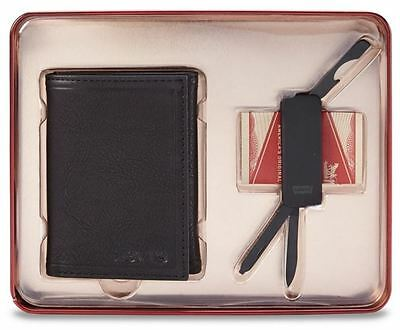 Levi Strauss 41LV250018 Men's Black Trifold Wallet & Multi-Tool Money Clip 2-PC