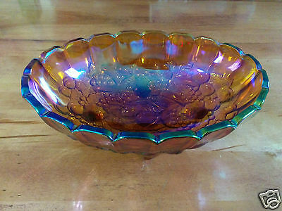 Vintage Indiana Glass Amber Iridescent Carnival Harvest Grape Center Fruit Bowl