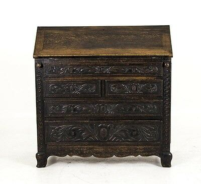 B432 Large Victorian Ornately Carved Oak Secretary, Slope Front Desk, Bureau