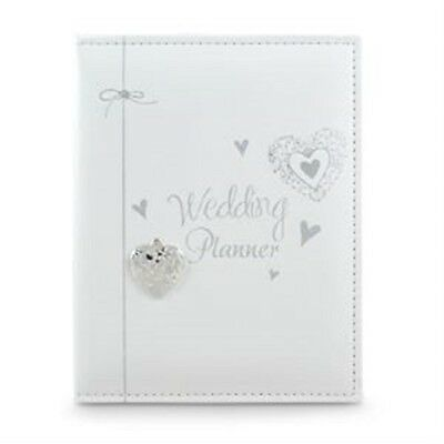 Faux Leather White Wedding Planner Diary With Hearts Swirls Keepsake Engagement