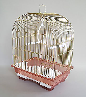 Canaries Finches Bird Gold Cage Feeder Seat Waste Box Plastic Swing Hook Pet