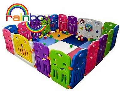 Lil' Jumbl Flexible Baby Play Yard - 6 Interconnecting Colorful Panels Form Play