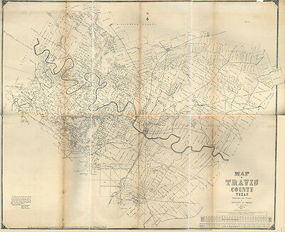 1880 Farm Line Map of Travis County Texas Austin