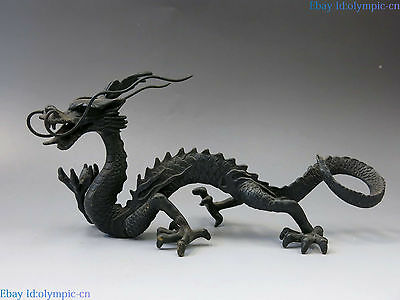 China bronze sculpture carved copper Feng Shui lucky beautiful dragon Statue