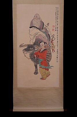 Awesome Long Rare Vintage Chinese Paper Figures Scroll Painting PP506