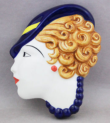 Lady Head Wall Face Mask Plaque 1930s Vintage Deco Style Decor Collectable