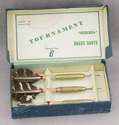 Darts Set Feather Flights Boxed 1950s Vintage Brass Tournament Series Pattern 6
