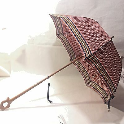 Vtg Plaid Parasol Umbrella w/ Carved Wooden Handle