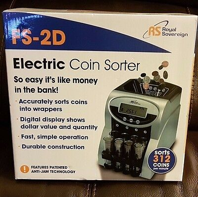 Electronic Automatic Coin Sorter Machine Change Counter Wrapper Money Roller New