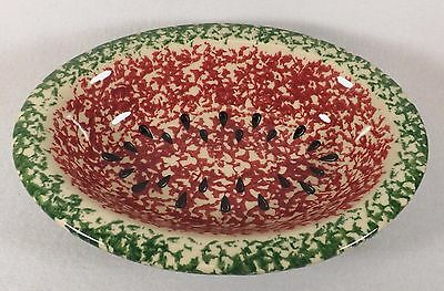"Gerald Henn Green & Red Sponge Ware Pottery 10"" Oval Watermelon Serving Bowl"
