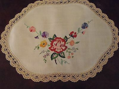 Vintage Large Hand Embroidered Table Centre Doily with Crochet Border - Doiley
