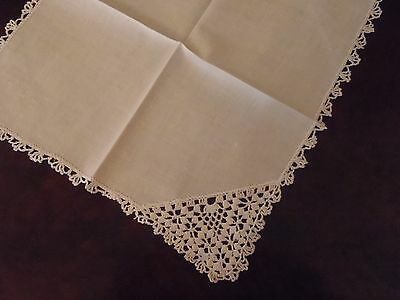 Vintage Lady's Handkerchief white on white floral Crochet wedding prom bride