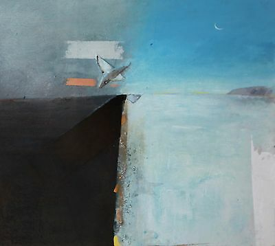 Keith Purser, Winter Moon 2002 oil & mixed media on board signed, titled & dated