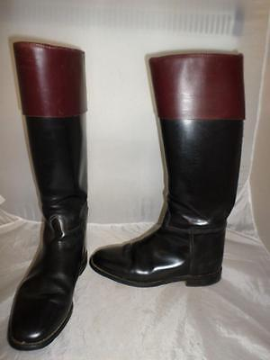 *regent Livery/hunting Boots- Black With Mahogany Tops- Uk Size 8*