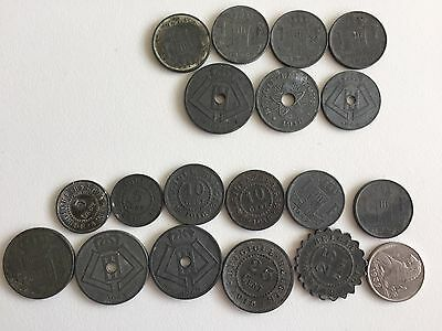 (CLOSED TILL 5 JULY) Belgium 19 WWI & WWII coins, 5 cents to 5 Francs.