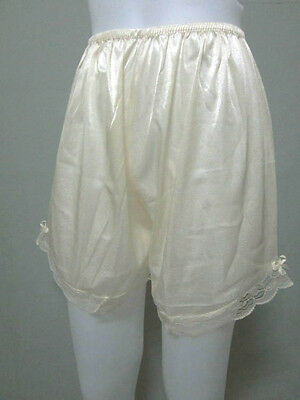 Vintage Silky Nylon Petticoat Women's Panties French Knickers Lingerie #M Cream