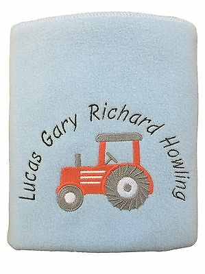 Personalised Baby Blanket Red Tractor Design - choice of blanket colours