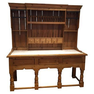 Large Country Pine Hutch with Marble Counter
