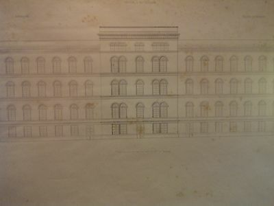 Antique architectural drawings, pair