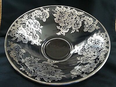Beautiful Antique Silver Etched Bowl Large Floral