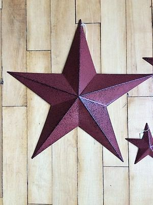 """One (1) Burgundy Black Barn Star 24"""" Primitive Rustic Country Distressed"""