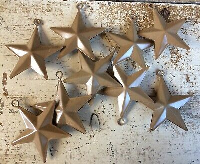 """Set of 3) 12"""" PUNCHED RUSTY GALVANIZED BARN STARS  PRIMITIVE COUNTRY RUSTIC"""