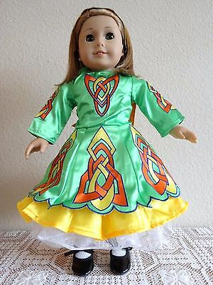 """NEW-DOLL CLOTHES-GREEN IRISH DANCE Set w/SHOES fits 18""""Doll such as AG Doll-#279"""