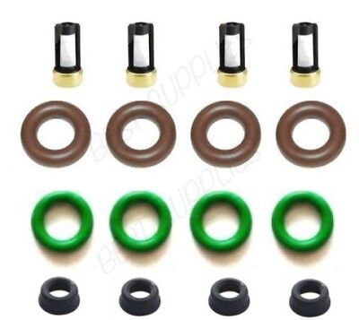 4x Fuel Injector Seal Repair Kit Oring Retainer For Nissan Sentra 1.8