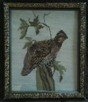 Antique Wool Hand Embroidered Art Primitive Bird Quail Framed