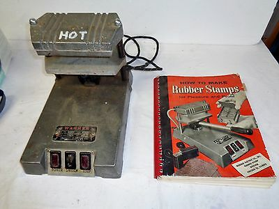 Vintage Warner Electric Rubber Stamp machine with original instruction book