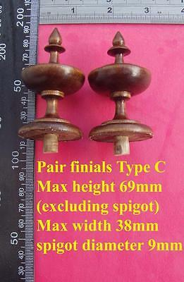 da type C - Pair stained wood vienna regulator wall clock FINIALS furniture DIY