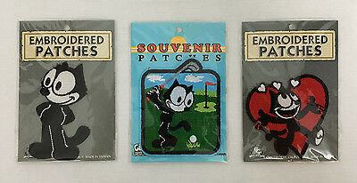 Rare Vintage Felix The Cat Collectible Iron On Embroidered Souvenir Patches Lot