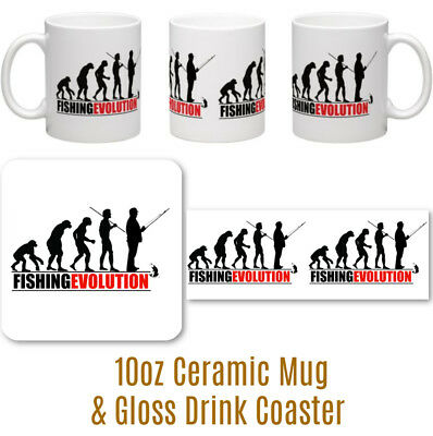 FISHING EVOLUTION PERSONALISED 10oz CERAMIC MUG & GLOSSY HARDWOOD COASTER GIFT