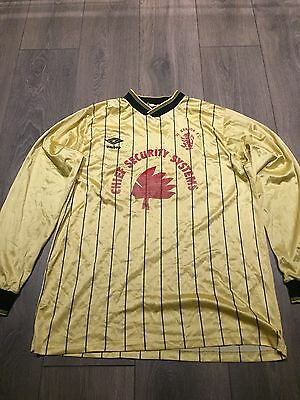 1st Bangor FC Match Worn Home Shirt 1980s Long Sleeved No. 11 Rare And Vintage