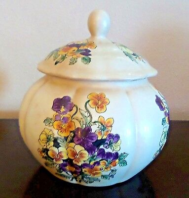 Chinese Pottery Handpainted Ginger Jar Purple Yellow Pansies Signed