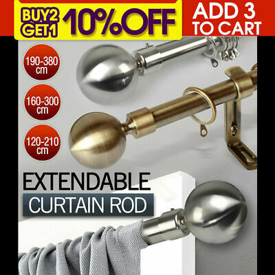 Curtain Rod Metal Pole Rail Finial Set Extendable 120-210/160-300/190-380cm