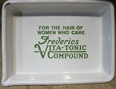 "Antique Porcelain Enamel Advertising Tray - ""Frederies Vita-Tonic Compound"""