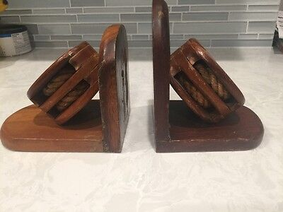 Vintage Nautical Boat Pulley & Rope Bookends Mid Century