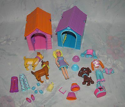 Polly Pocket Pet Set - 3 Dogs, Doghouses, Doll, Clothes - Puppy