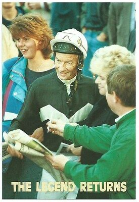 Vintage Postcard.  Lester Piggott. The Legend Returns. Unused. Ref:72444