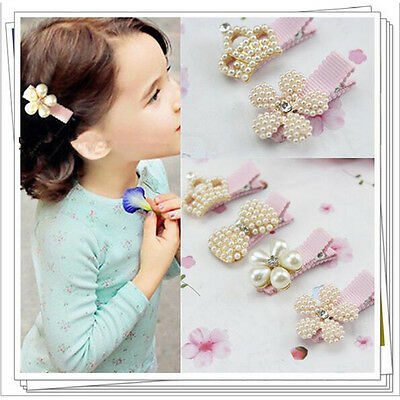 New Baby Child Pearl Rhinestone Bowknot Hair Clip Crown Flower Cute Girl Hairpin