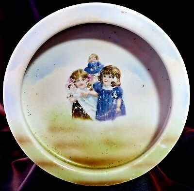 Antique Porcelain Childs Bowl Three Crowns China Germany Girls & Dolls 1909-16
