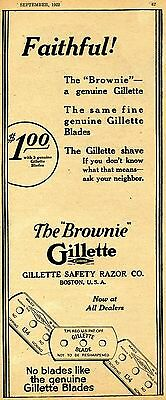 1922 Vintage Print Ad of Gillette The Brownie Safety Razor Blade
