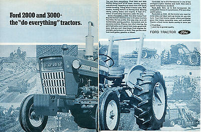 1971 Ford 2000 & 3000 Farm Tractor 2 Page Print Ad