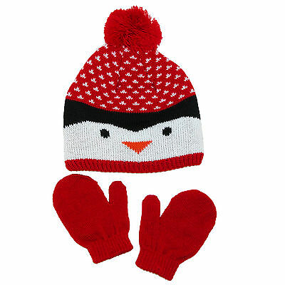 New Aquarius Toddlers 2T/4T Penguin Hat and Mitten Set